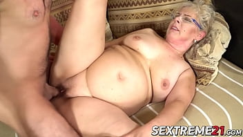 Chubby granny with glasses fucked by young big cocked guy