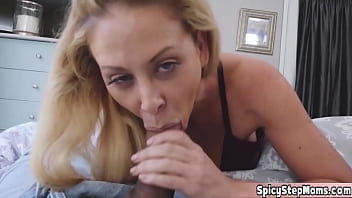 Cute blonde French stepmother POV style taboo blowjob