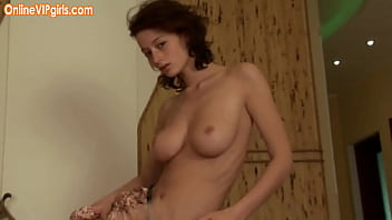 Natural perfect breasts - Seductive brunette college assistant with big natural tits