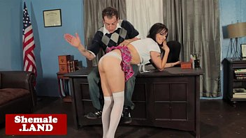 Free100 xxx-rated shemale sex pics - Tranny schoolgirl spanked and barebacked