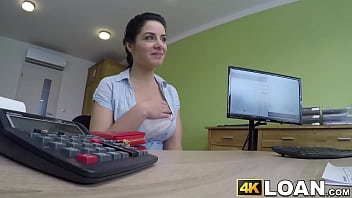 Busty amateur anally treated by big dicked loan agent
