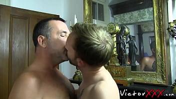 Rimmed young gay bareback before facial cumshot