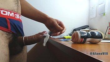 Condom gay using Cuming in a condom wearing a 6 days used jockstrap sold - alano viii