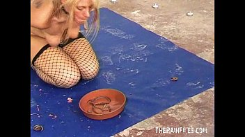 Garbage pee - Gross forced worms in mouth humiliation of bizarre blonde slaveslut crystel lei