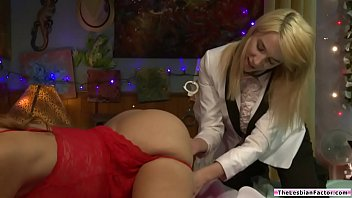 Blonde babe fucks milf with a strapon