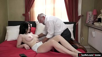 Busty 19yo Russian Sheril Blossom suck off and rides grandpa