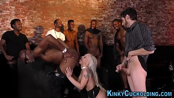 Plowed babe cuckolds in interracial gangbang