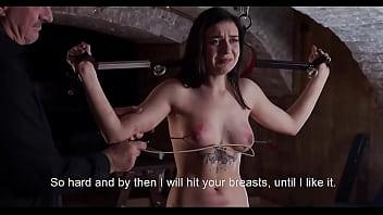 Cruel breast whipping for helpless girl