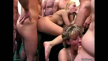 Older and young porn Granny cleans up cum from hot blonde babe