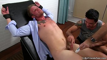 Gay tickle torture sites Bound hunk businessman has feet and cock tickle treated