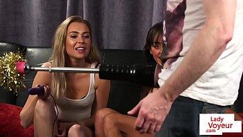 Gorgeous ladies in lingerie teasing sub guy
