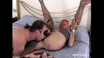 Italian swinger couple with her an old bitch with hairy pussy and stockings