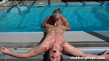 Old gay sex videos Grandpa eats twinks ass and cum off his chest