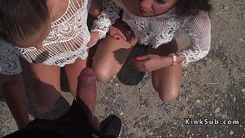 Two Euro slaves banging in public bar