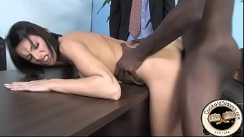 Black bull fucks wife over desk and cums all over her back for hubby to eat