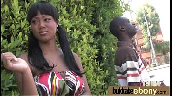 Ebony gets fucked in all holes by a group of white dudes 3