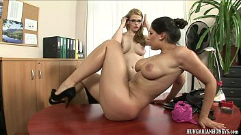 Hungarian lesbian secretary eating pussy on a desk  #1168020