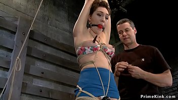 Tied slave set on Sybian vibrator thumbnail
