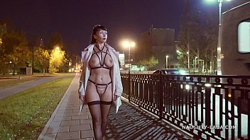 Exhibitionism sex fetish Straps and stockings at the night