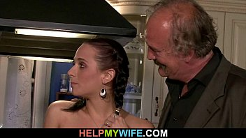 Old hubby watches a guy bangs his young wife