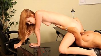 Lesbian sluts redhead Pepper Kester and brunette Michelle Lay  bend their arses over to lick each others muffs thumbnail