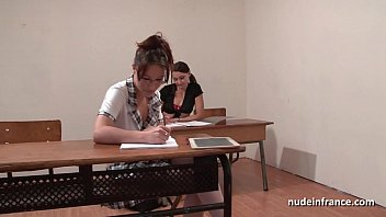 French students hard ass fucked and fisted in FFM threesome in classroom porn thumbnail