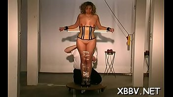 Breast supports Obedient chick stands and endures enormous breast bondage porn
