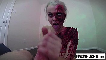 Hot  zombie gets her fill of cock and jizz