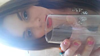 Teenage slutty Stacey drinking her own piss