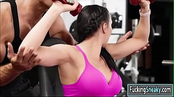Rachel having hardcore sex in the gym