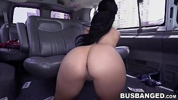 Hot babe with big ass and tits has sex inside the car