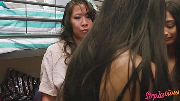 Steplesbians - Two Asian Stepsisters Learn To Share More Than A Bed