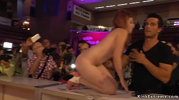 Naked bound sub fucked at sex expo