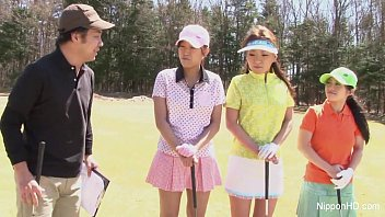 Jap games with nude girls - Asian teen girls plays golf nude