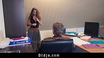 Old man secretary porn Sexy young secretary blackmails her old boss for dirty fuck facial