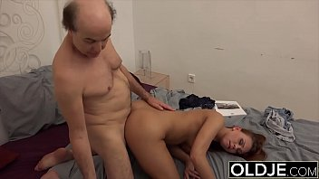 Tasty red gets pussy fucked by fat old cock