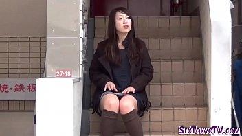 Asian Babe Flashes Undies