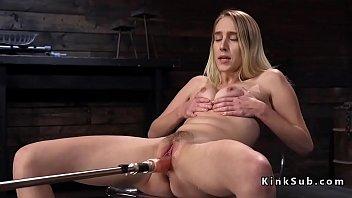 Blonde squirting and fucking machine