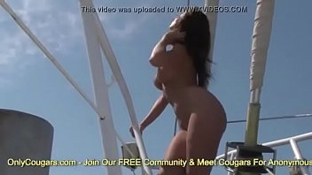 Cindy Dollar Sun Bathes Naked On A Boat