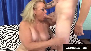 Chubby Mature Summer Shows a Skinny Guy Her Cock Riding Skills