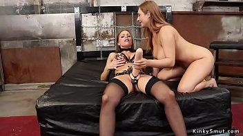 Petite lesbian anal fucks huge tits babe