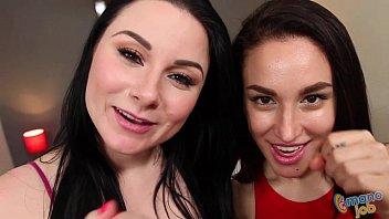 Veruca James and Gabriella Paltrova jerking off a cock