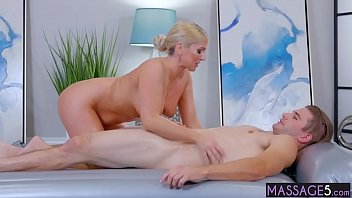 Busty massage professional rode big cock after massage