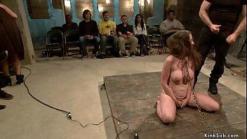 Brunette slut gets otk spanked in public
