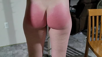 spanking my red ass and cumshot on it