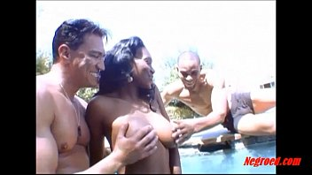 Negroed.com black girl curly hair fucking 2 white guys in the swimming pool