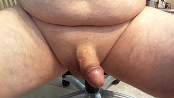 Stroking my Small Shaved Cock with cum