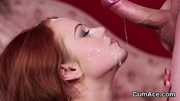 Loaded cum shots Flirty stunner gets jizz shot on her face eating all the cum