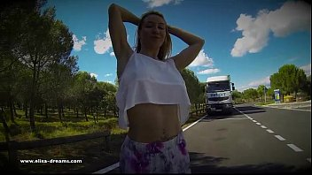 Trucker porn Flashing naked on a rest area for the truckers