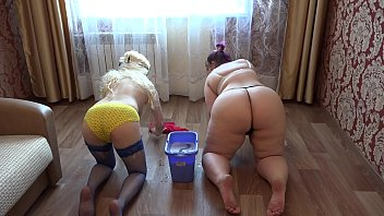 Bdsm victorian household - Lesbians with beautiful asses wash the floor and flirt with each other. household routine of russian girlfriends.